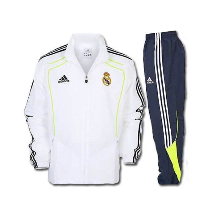 adidas real madrid survetement blanc noir 2010 2011 real. Black Bedroom Furniture Sets. Home Design Ideas
