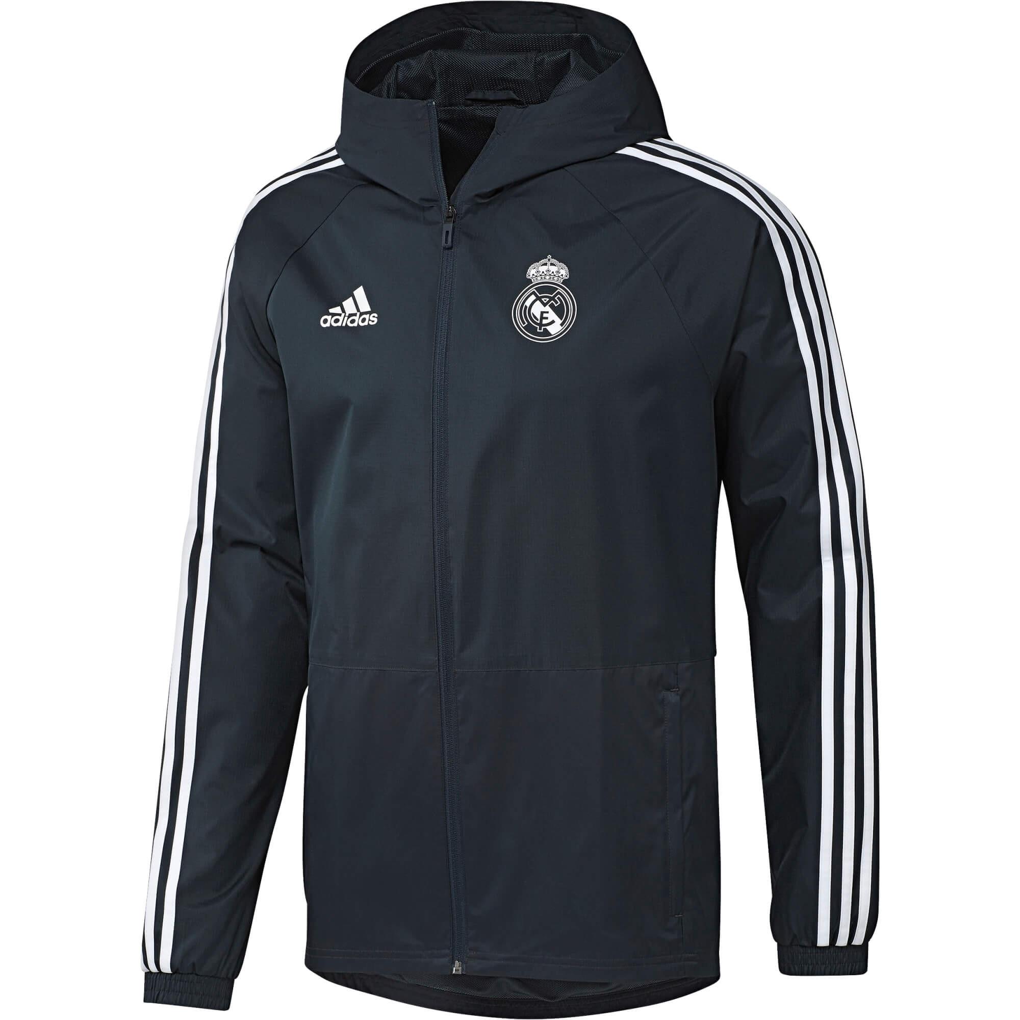 Veste Coupe Vent Adidas Real Madrid adulte 20182019 GrisBlanc